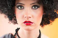 Young attractive girl. With afro curly haircut Royalty Free Stock Image