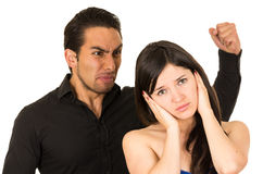Young attractive girl covering ears from angry Royalty Free Stock Photography