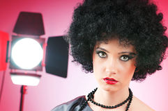 Young attractive girl with  curly haircut. Young attractive girl with afro curly haircut Stock Image