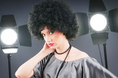 Young attractive girl with  curly haircut. Young attractive girl with afro curly haircut Stock Images
