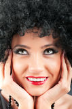 Young attractive girl with  curly haircut. Young attractive girl with afro curly haircut Royalty Free Stock Photos