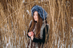 Young attractive girl embracing the snow in winter. Winter portr Stock Photo