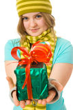 The young attractive girl with the gift Stock Photos
