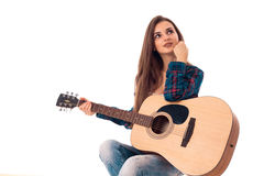 Young attractive girl with guitar. Isolated on white background young attractive girl with guitar looking away Stock Photography