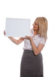 Young attractive girl holding empty message board Stock Photos