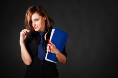 Young Attractive Girl In Black Blouse Royalty Free Stock Photos