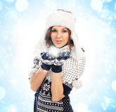 Young attractive girl in native scandinavian clothes Royalty Free Stock Photos