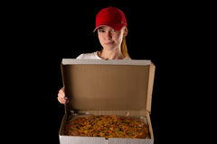 Young attractive girl with a pizza box Royalty Free Stock Image