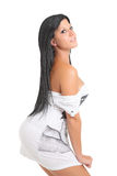 Young and attractive girl posing in white dress Stock Photos