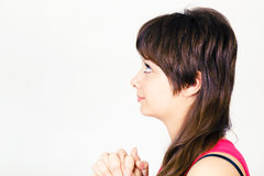 Young attractive girl praying Stock Photos