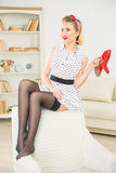 Young attractive girl with red shoes. Stock Photos