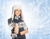 Young attractive girl in scandinavian clothes Royalty Free Stock Photography