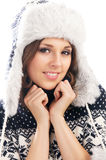 Young attractive girl in Scandinavian clothes Royalty Free Stock Images