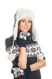 Young attractive girl in Scandinavian clothes Stock Photography