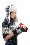 Young attractive girl in Scandinavian clothes Royalty Free Stock Photos