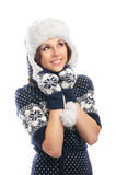 Young attractive girl in Scandinavian clothes Royalty Free Stock Image
