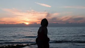 Young attractive girl spinning around and smiling at camera. Silhouette of girl dancing on seashore at dusk. Hot caucasian woman d stock footage