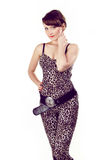 Young attractive girl wearing in leopard clothes Stock Images
