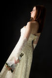 Young attractive girl in a wedding dress Royalty Free Stock Photography