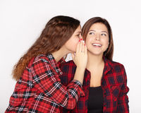 Young attractive girl whispering in the ear of his sister stock photography