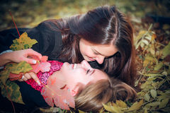 Young and attractive girlfriends Royalty Free Stock Photo