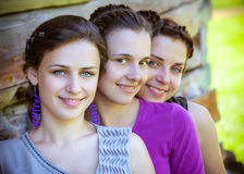 Young and attractive girlfriends have fun Stock Photo