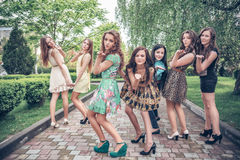 Young and attractive girlfriends have fun Royalty Free Stock Images