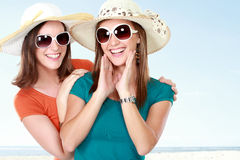 Young attractive girlfriends in the summer day Royalty Free Stock Photo
