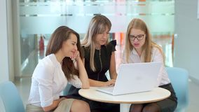 Young attractive girls at a business meeting, looking at the laptop, are talking. stock video footage