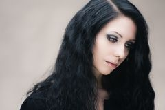 Young attractive gothic brunette woman Stock Photo