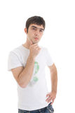 The young attractive guy isolated on a white Royalty Free Stock Photo