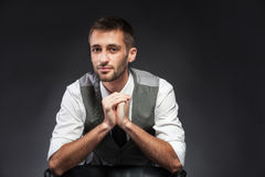 Young attractive guy looks before itself Royalty Free Stock Photos