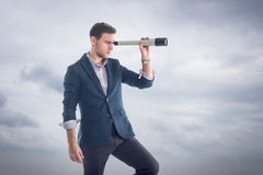 Young attractive handsome businessman standing Stock Photos