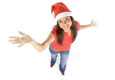 Young and attractive happy female Santa Royalty Free Stock Images