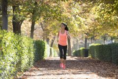Attractive and happy runner woman in Autumn sportswear running a Stock Photos