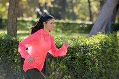 Attractive and happy runner woman in Autumn sportswear running a. Young attractive and happy runner woman in Autumn sportswear running and training on jogging Stock Images