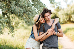 Young attractive hipster couple hugging at the forest Royalty Free Stock Image