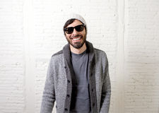 Young attractive hipster and trendy style looking man posing coo Royalty Free Stock Photo
