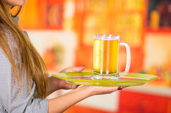 Young attractive holding a beer in bar, close up Stock Image