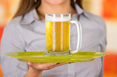 Young attractive holding a beer in bar,  close up Royalty Free Stock Photo