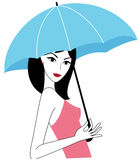Young attractive holding an umbrella Stock Images