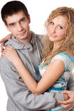 Young attractive hugging couple Stock Photos