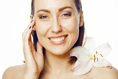 Young attractive lady close up with hands on face Stock Images