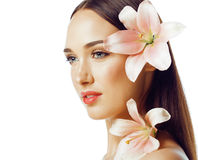 Young attractive lady close up with hands on face Royalty Free Stock Image