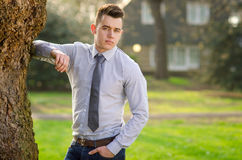 Young attractive male. Outdoor / Park Stock Image