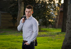 Young attractive male. Outdoor / Park Royalty Free Stock Photography