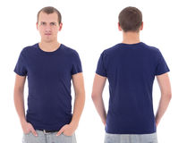 Young attractive man in blue t-shirt isolated Royalty Free Stock Photo