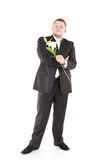 Young attractive man with flowers orchids. Attractive  man with flower. Isolated over white Royalty Free Stock Photography