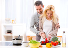 Young attractive man helping out his wife while cooking Royalty Free Stock Photos