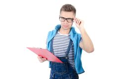 Young attractive man holding a clipboard. Smile and joy. Happy student. Smile and joy. Attractive young man getting ready for exams. White background. Isolated Stock Images